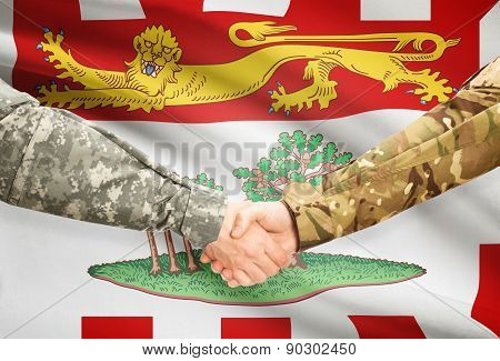 Military Handshake And Canadian Province Flag - Prince Edward Island