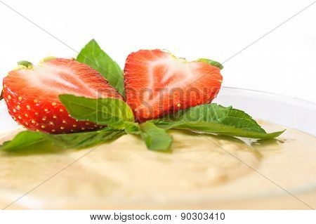 Custard Dessert With Fresh Strawberry And Mint