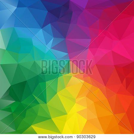 Vector Polygonal Background Pattern - Triangular Design In Full Spectru