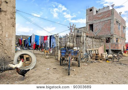 Small Settlement In Yauca District Along Pan-american Higway, Peru