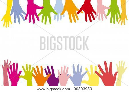 Children holding many colorful hands in a row as a background