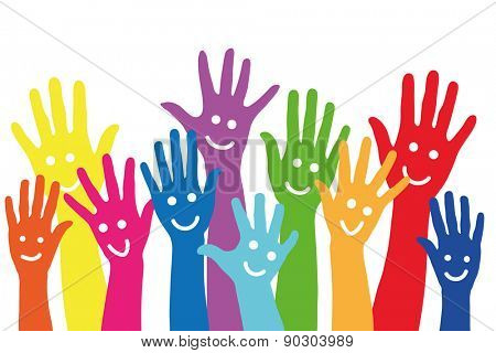 Background with many different colorful hands with smileys on it