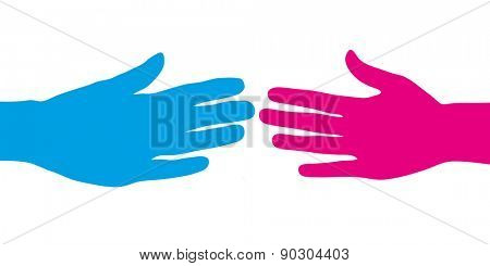 Abstract blue and pink human hand giving handshake