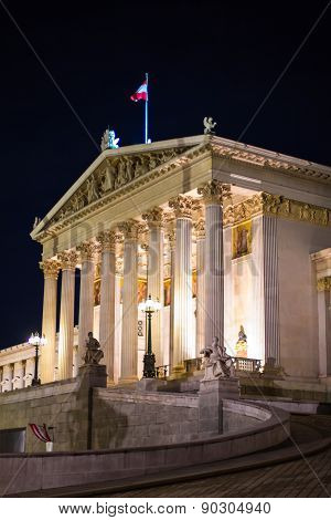 Night View Of Parliament Building In Vienna