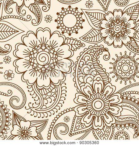 Henna mehndi seamless pattern