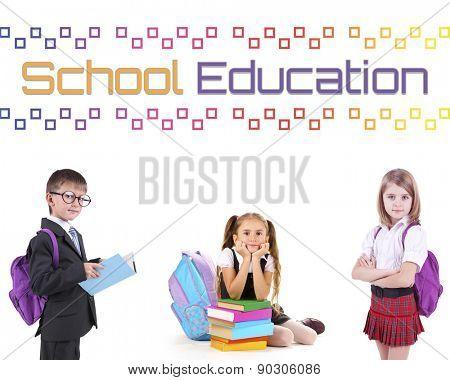 School concept. Schoolchildren isolated on white