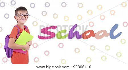 School concept. Schoolboy on bright background