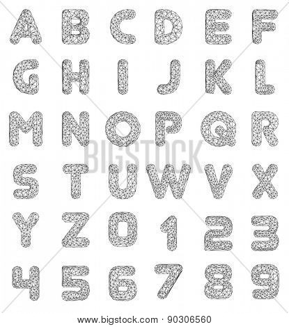 Vector Lowpoly Font leters and numbers. Vector illustration.
