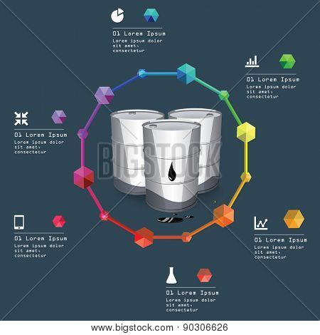 Metal oil barrels. Oil and gas industry infographic