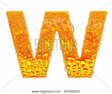 Fresh Orange alphabet symbol - letter W. Water splashes and drops on transparent glass - color of brandy , cognac, liquor, cola, beer or tea. Isolated on white