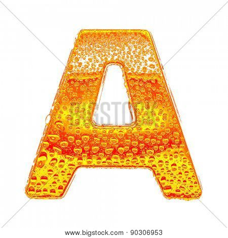 Fresh Orange alphabet symbol - letter A. Water splashes and drops on transparent glass - color of brandy , cognac, liquor, cola, beer or tea. Isolated on white