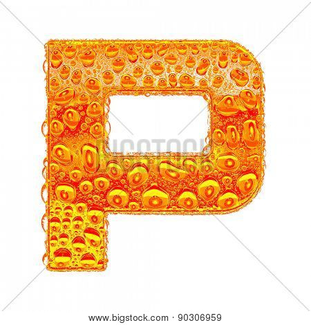 Fresh Orange alphabet symbol - letter P. Water splashes and drops on transparent glass - color of brandy , cognac, liquor, cola, beer or tea. Isolated on white