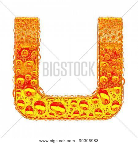 Fresh Orange alphabet symbol - letter U. Water splashes and drops on transparent glass - color of brandy , cognac, liquor, cola, beer or tea. Isolated on white