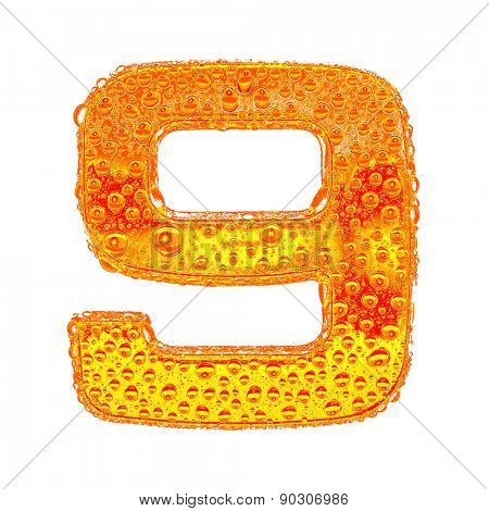Fresh Orange alphabet symbol - digit 9. Water splashes and drops on transparent glass - color of brandy , cognac, liquor, cola, beer or tea. Isolated on white