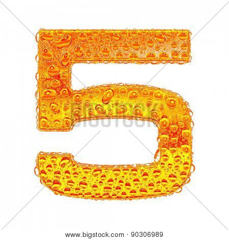 Fresh Orange alphabet symbol - digit 5. Water splashes and drops on transparent glass - color of brandy , cognac, liquor, cola, beer or tea. Isolated on white