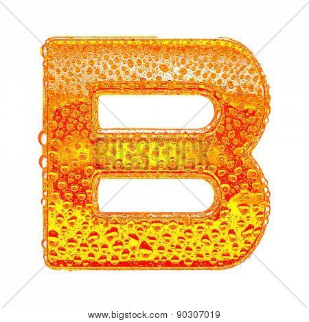Fresh Orange alphabet symbol - letter B. Water splashes and drops on transparent glass - color of brandy , cognac, liquor, cola, beer or tea. Isolated on white
