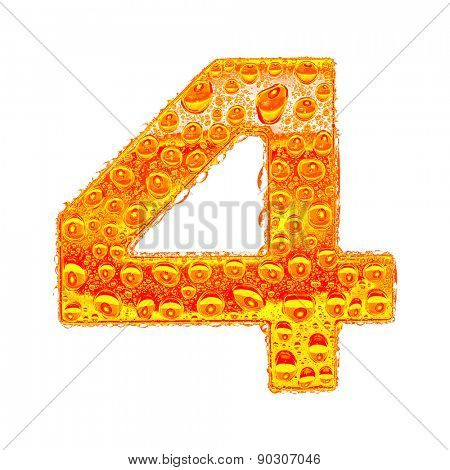 Fresh Orange alphabet symbol - digit 4. Water splashes and drops on transparent glass - color of brandy , cognac, liquor, cola, beer or tea. Isolated on white