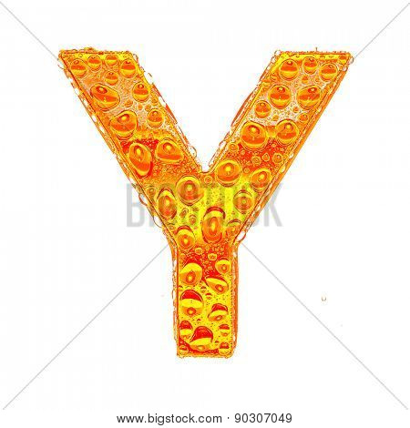 Fresh Orange alphabet symbol - letter Y. Water splashes and drops on transparent glass - color of brandy , cognac, liquor, cola, beer or tea. Isolated on white