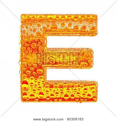 Fresh Orange alphabet symbol - letter E. Water splashes and drops on transparent glass - color of brandy , cognac, liquor, cola, beer or tea. Isolated on white