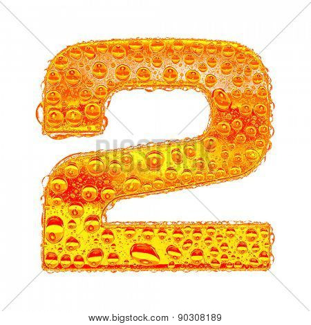 Fresh Orange alphabet symbol - digit 2. Water splashes and drops on transparent glass - color of brandy , cognac, liquor, cola, beer or tea. Isolated on white