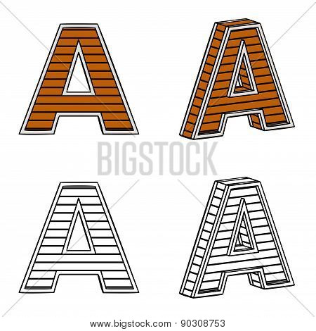 Letter A (a Block Of Wood)