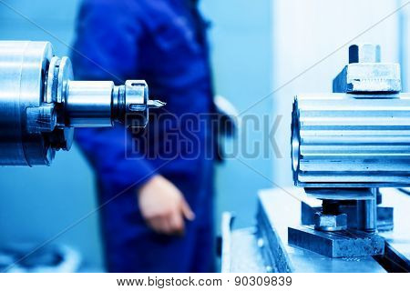 Drilling and boring machine at work in workshop. Industry, industrial concept.