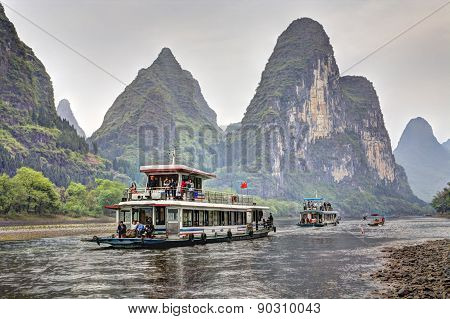 Lijiang River Cruise From Guilin To Yangshuo, Guangxi, Southern China.