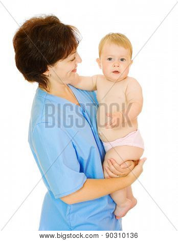 Doctor and small smiling baby isolated