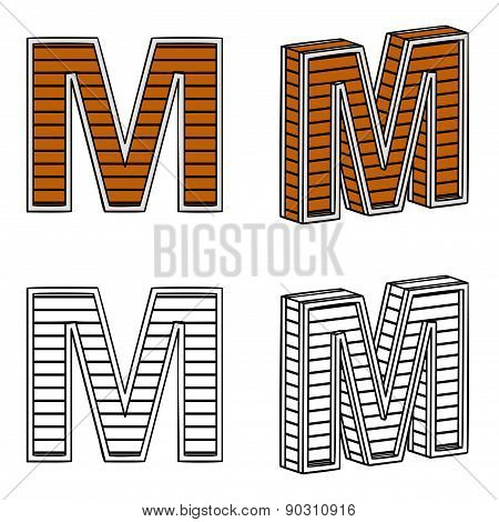 Letter M (a Block Of Wood)