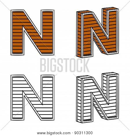 Letter N (a Block Of Wood)