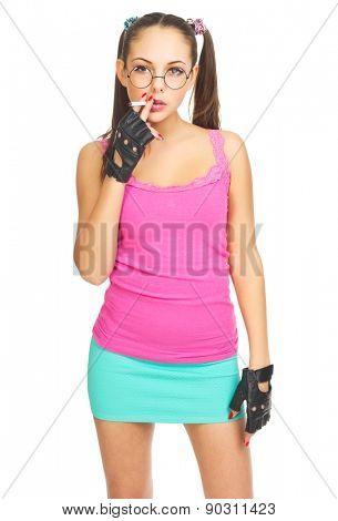 Smoking schoolgirl with nerd glasses isolated