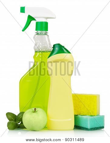 Cleaning products and green apple