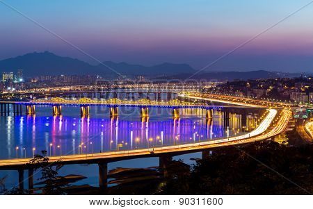 Han River and Bridge in Seoul