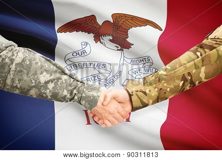 Military Handshake And Us State Flag - Iowa