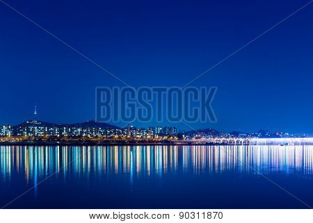 Seoul City and Han River