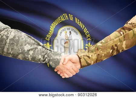Military Handshake And Us State Flag - Kentucky