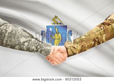 Military Handshake And Us State Flag - Massachusetts