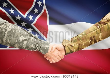 Military Handshake And Us State Flag - Mississippi