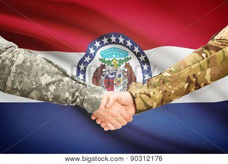 Military Handshake And Us State Flag - Missouri