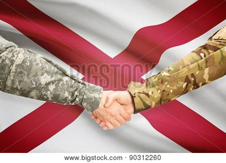 Military Handshake And Us State Flag - Alabama