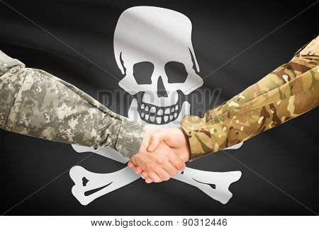 Military Handshake With Flag On Background - Jolly Roger