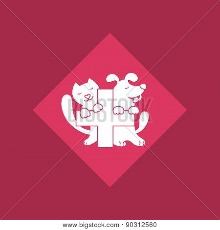 Veterinary cross, cat and dog logo