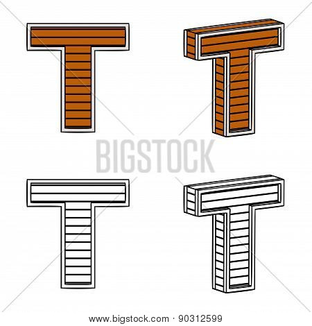Letter T (a Block Of Wood)