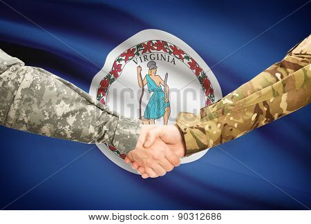 Military Handshake And Us State Flag - Virginia