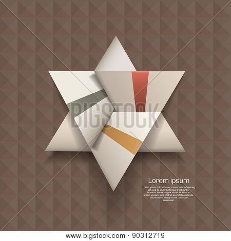 white origami Triangle on the texture background