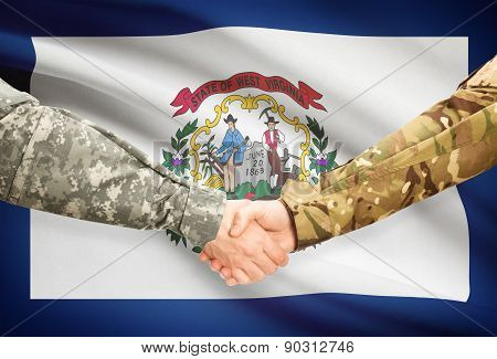 Military Handshake And Us State Flag - West Virginia