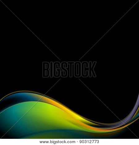 Dark colorful iridescent wavy background. Vector design template