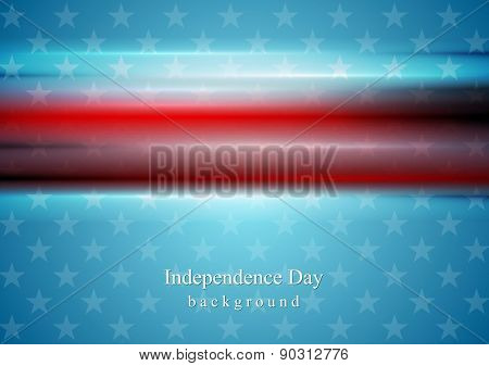 Red smooth stripes on blue star background. Usa Independence Day vector background