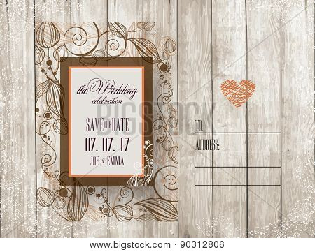 Save The Date. Wedding Invitation Card on wooden background with flowers