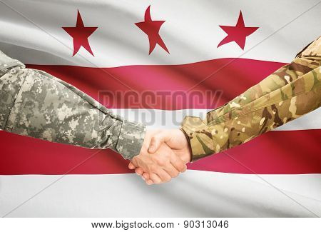 Military Handshake And Us State Flag - District Of Columbia
